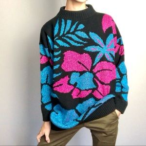 80's metallic Hawaiian floral print sweater